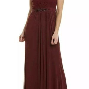 ADRIANNA PAPELL Embellished Lace One-shoulder Wine